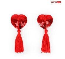 Текстильные пестисы в форме сердечек с кисточками