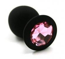 Чёрная силиконовая анальная пробка с кристаллом - 7 см