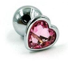 Серебристая анальная пробка с кристаллом-сердцем - 7 см
