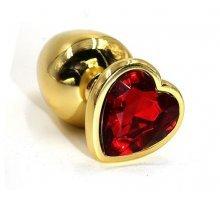 Золотистая алюминиевая анальная пробка с красным кристаллом-сердцем - 8,4 см