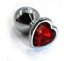 Серебристая алюминиевая анальная пробка с кристаллом-сердцем - 6 см