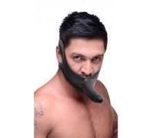 Черный кляп-страпон Masters Mini Face Fuck Strap-On - 14 см