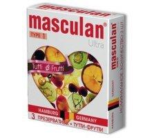 Жёлтые презервативы Masculan Ultra Tutti-Frutti с фруктовым ароматом - 3 шт