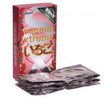 Презервативы Sagami Xtreme Strawberry c ароматом клубники - 10 шт.