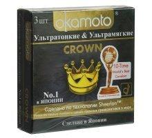 Ультратонкие ультрамягкие презервативы телесного цвета Okamoto Crown - 3 шт